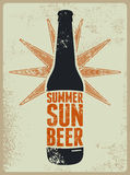 Summer, Sun, Beer. Typographic retro grunge beer poster. Vector illustration. Stock Photo