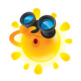 Summer sun with binoculars. Summer sun looking up with binoculars Royalty Free Stock Image