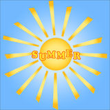 Summer, sun on blue sky. Summer, sun with rays on blue sky. Vector Vector Illustration
