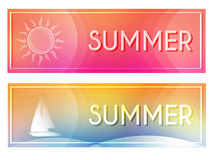 Summer with sun and boat banners Stock Photos