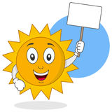 Summer Sun Character Holding Sign Stock Photos