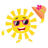 Summer sun character in sunglasses holding straw hat and smiling Stock Photography