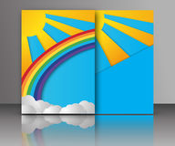 Summer sun with clouds and rainbow background. Paper cut style. Vector illustration of Summer sun with clouds and rainbow background. Paper cut style. Brochure stock illustration
