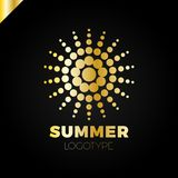 Summer sun with dot logo. Creative circel or dots star logotype.  Royalty Free Stock Images