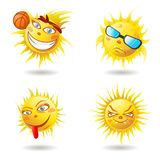 Summer Sun Face. Spring Sun Face with sunglasses and Happy Smile. Vector Illustration Stock Photography