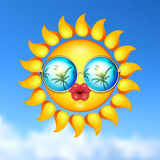 Summer Sun Face with sunglasses and full lips. Stock Photos