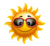 Summer Sun Face with sunglasses and Happy Smile Royalty Free Stock Images