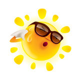 Summer sun. Feeling hot and wiping sweat royalty free illustration