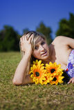 Summer Sun Flowers Woman Royalty Free Stock Image