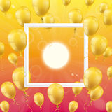 Summer Sun Golden Balloons Frame. Frame with golden balloons, summer sky and sun Royalty Free Stock Photo