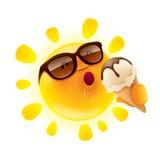 Summer sun holding an ice cream Stock Photos
