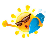 Summer sun holding a surfer board Royalty Free Stock Image