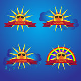 Summer sun icons with banner Royalty Free Stock Images