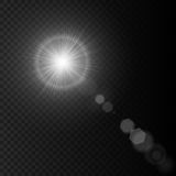 Summer sun lens flare with realistic light, lens flare lights and lens flare glow on black background, star lens flares. Summer white sun lens flare with Stock Image