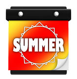 Summer Sun Page Wall Calendar Date New Season. The word Summer on a colorful orange, red and yellow background with a sun on the tearawy page of a wall calendar Royalty Free Stock Photography