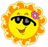 Summer Sun with pink flower. Illustration Royalty Free Stock Images
