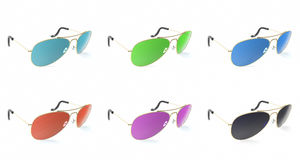 Summer sun protection sunglasses realistic icons set isolated on white background. Stock Photography