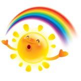 Summer sun with rainbow stock illustration