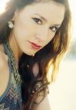 Summer sun ray flare beauty portrait Stock Photos
