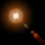 Summer sun with realistic lens flare lights and glow on black background. Vector illustration eps 10. Summer sun with realistic lens flare lights and glow on Stock Image