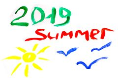 Summer 2019 and sun and seagulls are painted on white background royalty free stock image