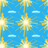 Summer sun seamless pattern. Vector illustration of yellow suns and clouds on a blue background. Stock Photography