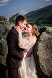 Summer sun shines over the old-fashioned wedding couple.  Royalty Free Stock Photos
