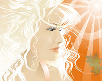 The summer sun shines the person of the blonde. The person of the blonde Royalty Free Stock Image