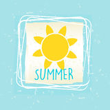 Summer with sun sign in frame over blue old paper background. Summer with yellow sun sign in frame over blue old paper background, seasonal card Royalty Free Stock Image