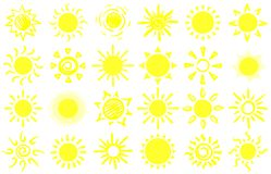 Summer sun sketch. Hand drawn suns, warm sunrise sunlight and happy sunbeam cartoon vector set. Summer sun sketch. Hand drawn suns, warm sunrise sunlight and royalty free illustration