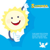 Summer sun smiling. hides behind a cloud. Vector Royalty Free Stock Images