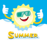 Summer sun smiling. hides behind a cloud. Vector Stock Photo