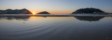 Summer sun sunset on the beach of La Concha in the city of Donostia Royalty Free Stock Photo