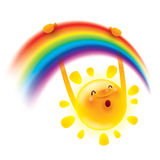 Summer sun swinging on a rainbow Royalty Free Stock Images