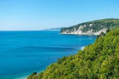 Summer, sun and vacation. Blue bay. Wild nature stock photography