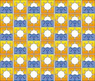 Summer sun and waves pattern Royalty Free Stock Images