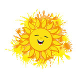 Summer sun on a white background. Summer sun on a white background and bright splashes Stock Photo