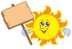 Summer Sun with wooden table Royalty Free Stock Images