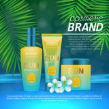 Summer sunblock cosmetic design template on abstract blue background with exotic palm leaves. Realistic sun protection and sunscre. En product ads Royalty Free Stock Photos