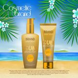 Summer sunblock cosmetic design template on beach background with exotic palm leaves. 3D realistic sun protection and sunscreen pr. Oduct ads stock illustration