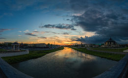 Summer sundown in Tula, Russia. Wide angle panoramic view from bridge over Upa river. Photo taken in may 2016 Stock Photos