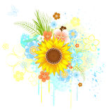 Summer sunflower. Bright yellow, blooming sunflower field with blue and orange flowers on a white background splodgy yellow and blue paint Stock Images