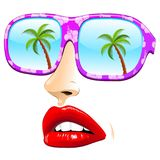 Summer Sunglasses on Abstract girl Face. Fashion Pink Sunglasses on minimalist abstract girl`s Portrait: mouth and nose to evoque the girl`s face. The sunglasses Stock Photo
