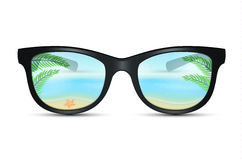 Summer sunglasses with beach reflection. Vector illustration of Summer sunglasses with beach reflection Royalty Free Stock Photography