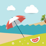 Summer sunny beach day. Vector illustration Royalty Free Stock Photos