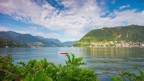 Summer sunny day como lake blue sky bay panorama 4k time lapse italy. Italy summer sunny day como lake blue sky bay panorama 4k time lapse stock video