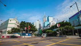 Summer sunny day hong kong traffic crossroad panorama 4k time lapse china. China summer sunny day hong kong city traffic crossroad panorama 4k time lapse stock video footage