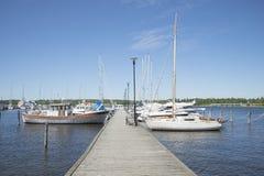 Summer sunny day in the marina Tammisaari. Finland. TAMMISAARI, FINLAND - JUNE 12, 2015: Summer sunny day in the marina Tammisaari. Finland stock image