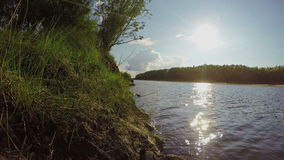 Summer Sunny Day on River. Nature Background. 4K. Ultra HD stock video footage