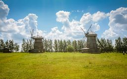 Summer sunny day windmills with blue sky royalty free stock photo